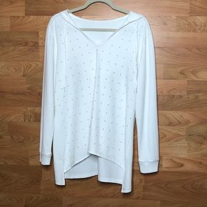L/S White Hooded W/tie Shirt w/Embellishments